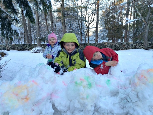 Emily, Michael and Luke Bernier have a great time. Who says yellow snow is bad?! (Photo/Anne Bernier)