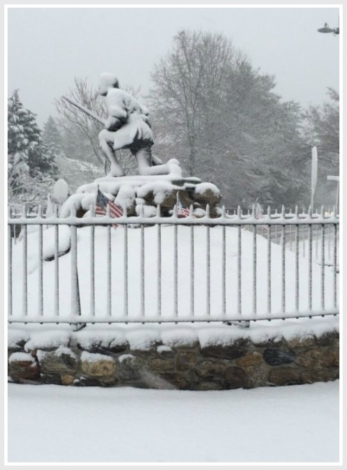 Whenever the Minute Man is decorated with a Santa cap or Easter bunny ears, a few folks complain. Today, Mother Nature decorated Westport's favorite figure. Enjoy! (Photo/Anne Hardy)