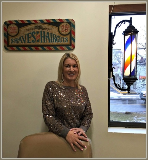 Tammy Stefanidis, new owner of the very old Riverside Barber Shop.