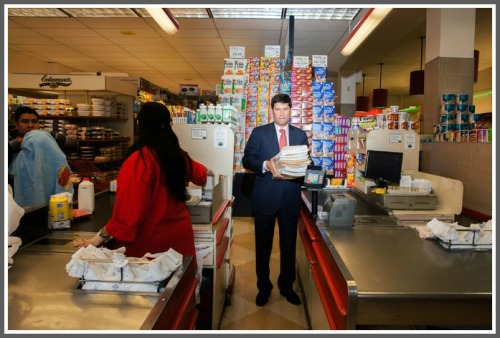 Avi Kaner in a Bronx Morton Williams store. (Photo/Danny Ghitis for the New York Times)