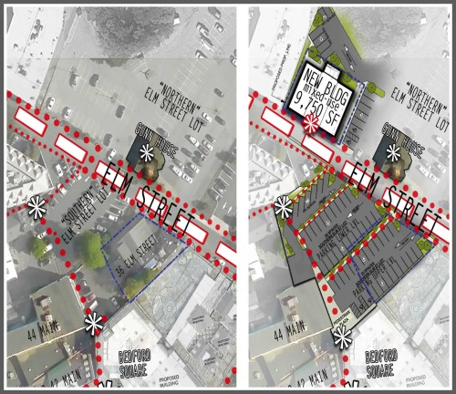 This left side of this aerial view shows the current configuration of Elm Street. David Waldman's proposal is on the right.