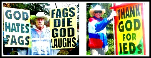 """Reverend"" Fred Phelps, and some of his signs."