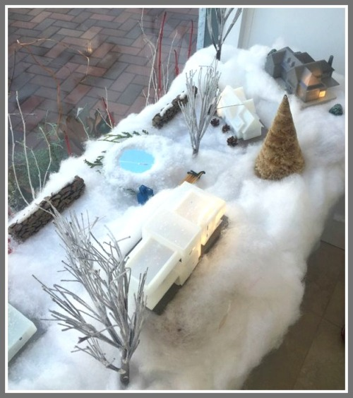 A view from inside, of Gaelle Dudley's Vita Design Group winter scene.