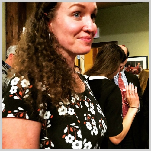 Megan Phelps-Roper, after last night's talk at the Westport Country Playhouse. Her sister Grace is behind her.