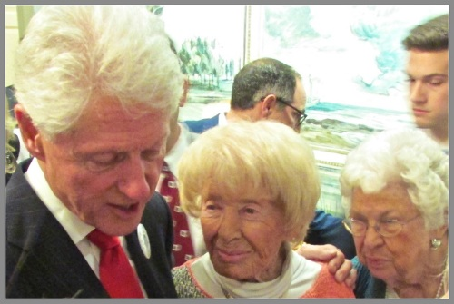 President Clinton with longtime Democratic activists Lee Greenberg and Martha Aasen.