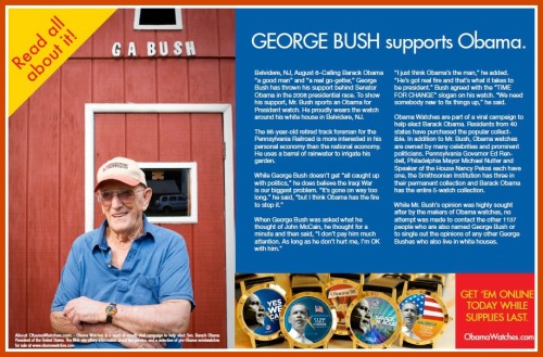 This is the George Bush who supported Barack Obama -- and who likes Jack Goldenberg's watches.