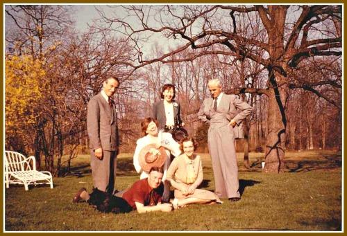 Hilla von Rebay in Westport in the 1940s, with Rudolf Bauer, Fernand Legerand and others.