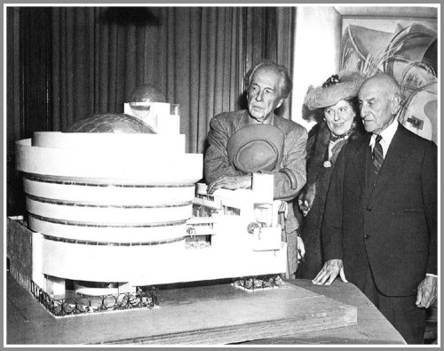 Hilla von Rebay with a model of the proposed Guggenheim Museum, 1946.