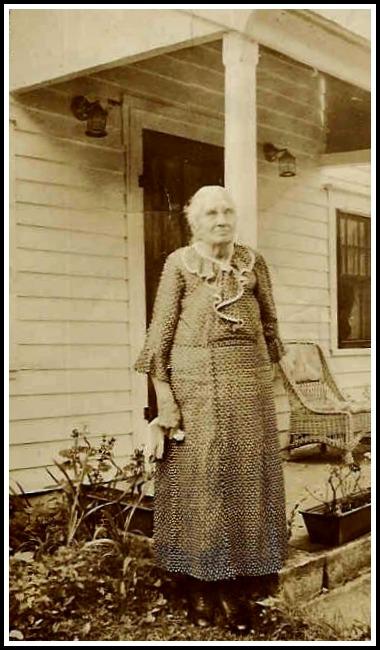 Mary Boyle Mills Avery -- shown here near a Center Street porch -- was Nancy Avery Baloglu's great-grandmother.