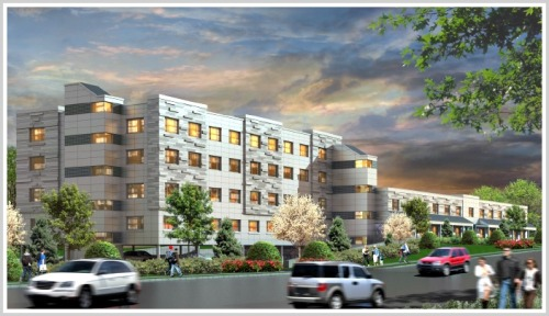 Artist's rendering of the 4-story, 94-unit rental housing complex proposed for 1177 Post Road East.
