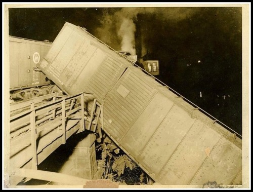 The engineer's cab dangles over the Saugatuck River, following the 1935 crash.