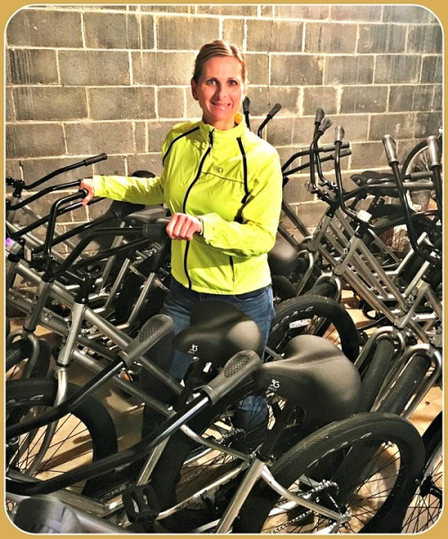 Tracy Yost, with some of her 20 bikes.