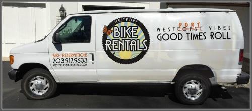Tracy brings her bikes to riders, via van.