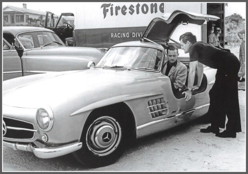 Briggs Cunningham, his watch, race car driver Phil Hill, and the 1st Mercedes-Benz 300SL Gullwing ever.