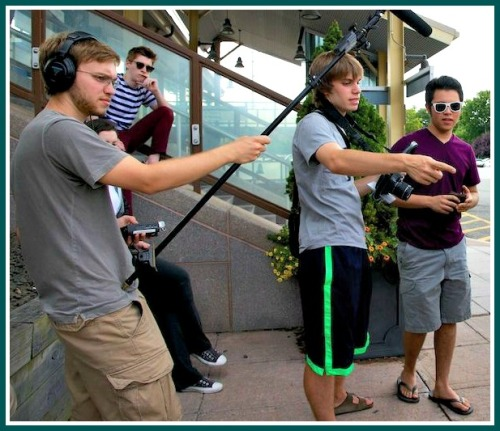 "Carson (left) and Connor (middle) Einarsen, directing ""Ryan Hood."""