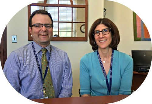 James D'Amico and Julie Droller, in Westport school district headquarters at Town Hall.