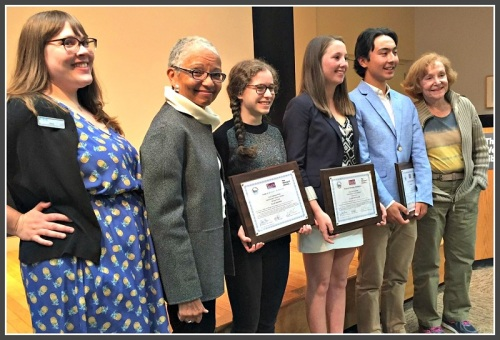 TEAM Westport contest judges (from left) Jaina Shaw and Dr. Judith Hamer, and (far right) Mary-Lou Weisman flank 2016 essay contest winners Ellie Shapiro, Ali Tritschler and Jacob Klegar.