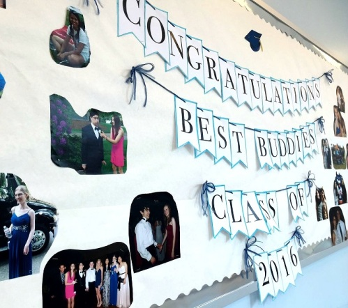 A bulletin board saluted Best Buddies. One of Staples' most popular clubs, it fosters 1-on-1 friendships between intellectually and developmentally disabled students, and their classmates.