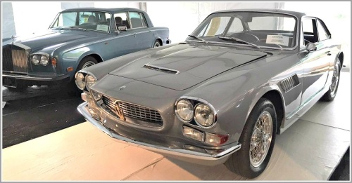 A 1965 Maserati Sebring Series 2. Behind it: a 1979 Rolls Royce Silver Shadow.