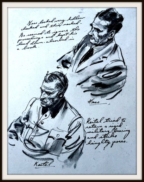 Two of Ed's sketches from the Nuremberg trials.