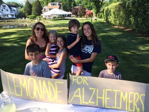 On Compo Beach Road, youngsters sold lemonade and cookies to raise funds to fight Alzheimer's.