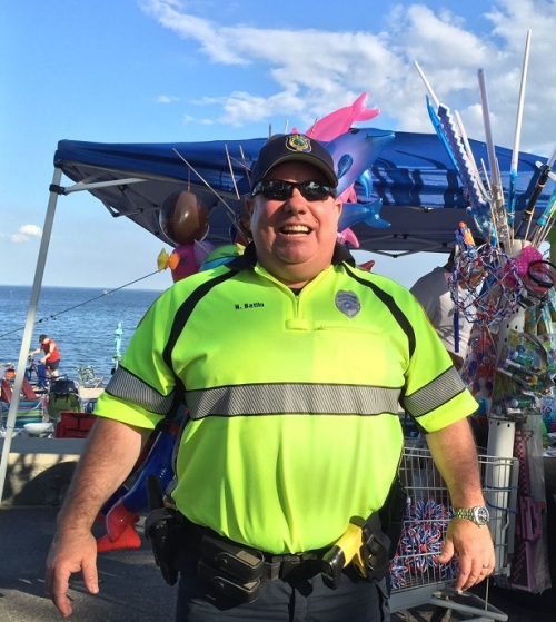 Police officers did their job -- and mingled with the crowds. Ned Batlin knows everyone.
