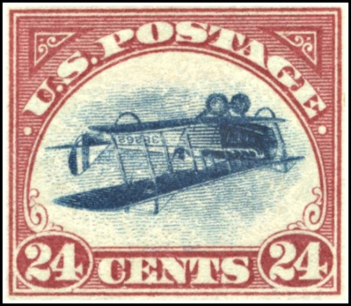 100 stamps showing a biplane were printed upside down in 1918 -- and escaped the notice of inspectors.