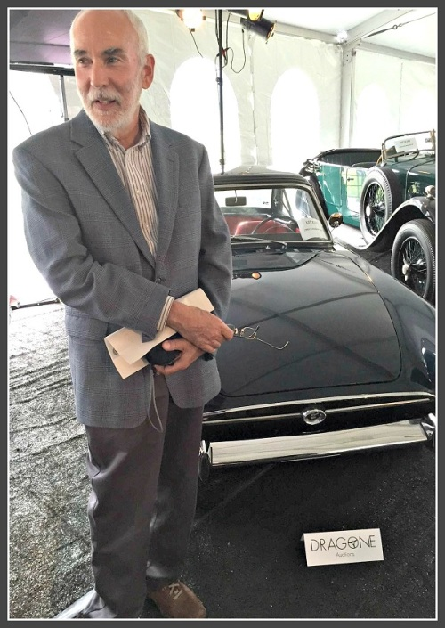 New York Times automobile writer Jim Motavalli -- a Staples High School Class of 1970 graduate -- with a 1965 Sunbeam Tiger.
