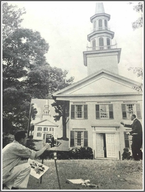 This shows Westport artist Stevan Dohanos -- a famed illustrator for Life's competitor, the Saturday Evening Post -- drawing a church in Easton. The model is George Weisling.