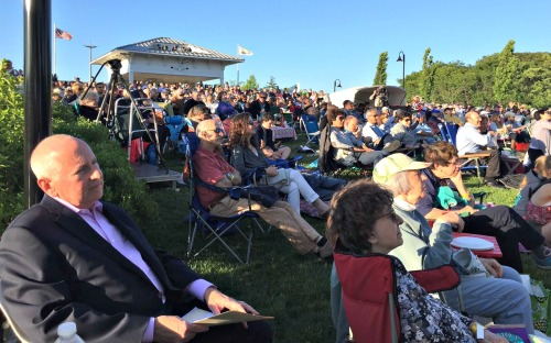 First Selectman Jim Marpe (far left) was part of the enormous crowd at tonight's Staples High Pops Concert.