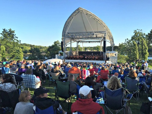 Every inch of the lawn was filled, as the Staples orchestra welcomed Westporters to the 1st-ever Pops Concert.