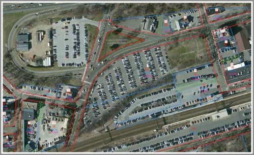An aerial view of train station parking lot 1 (center). Only one exit will be used Monday from 5:30-7:30 p.m., to simulate the proposed reconstruction plan.