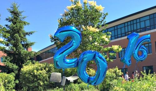 Courtyard balloons honor Staples' grads.