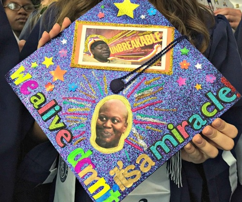 Grads often decorate their mortarboards. This is one of the best.
