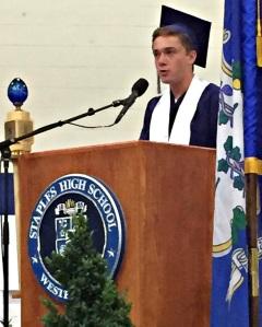Valedictorian Will Andrews, at graduation.