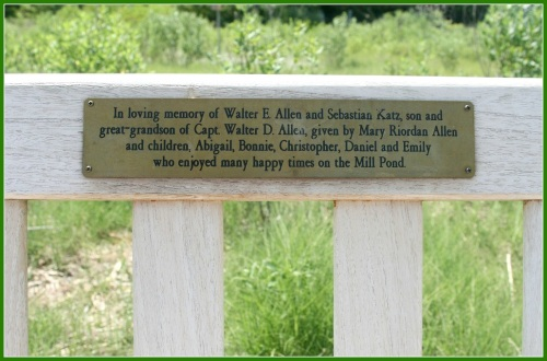 The plaque on the Allen family bench.