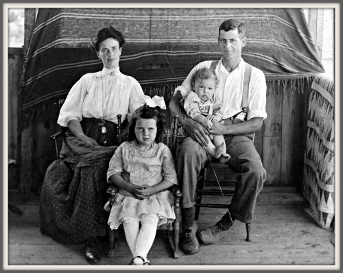 Captain Walter Allen (far right) with his wife Lida, daughter Beulah, holding his son Walter Ethan Allen (Mary's future husband). The photo was taken at Allen's Clam House around 1911.