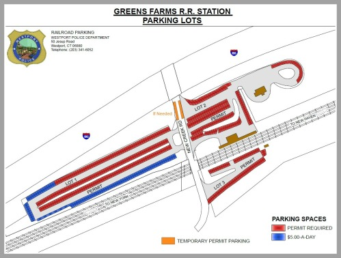 Greens Farms railroad station temporary parking. Click on or hover over to enlarge.
