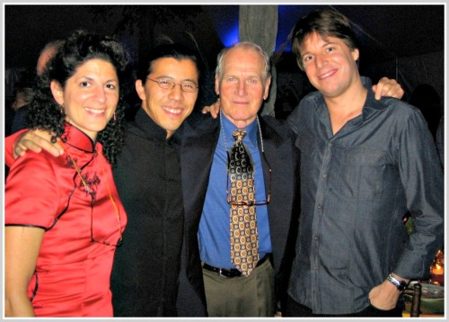 Jeanine Esposito, Frederic Chiu, Paul Newman and Joshua Bell, at an earlier appearance in Westport.