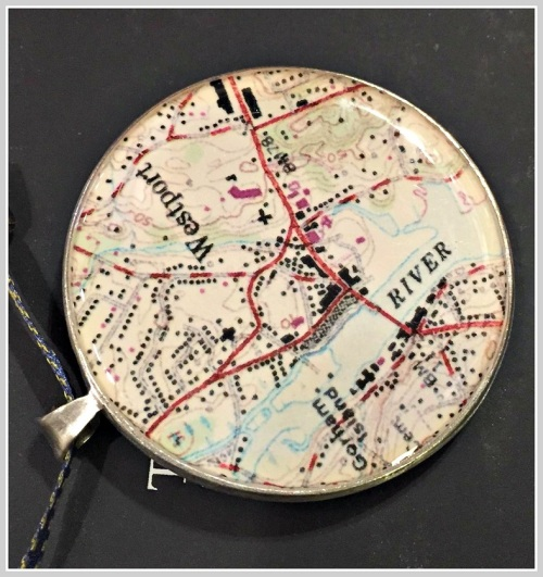This pendant features a Westport navigation chart.