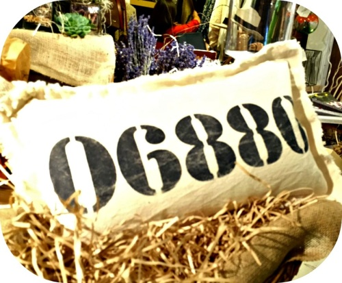 "An ""06880"" pillow."