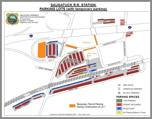 Saugatuck railroad station temporary parking. Click on or hover over to enlarge.