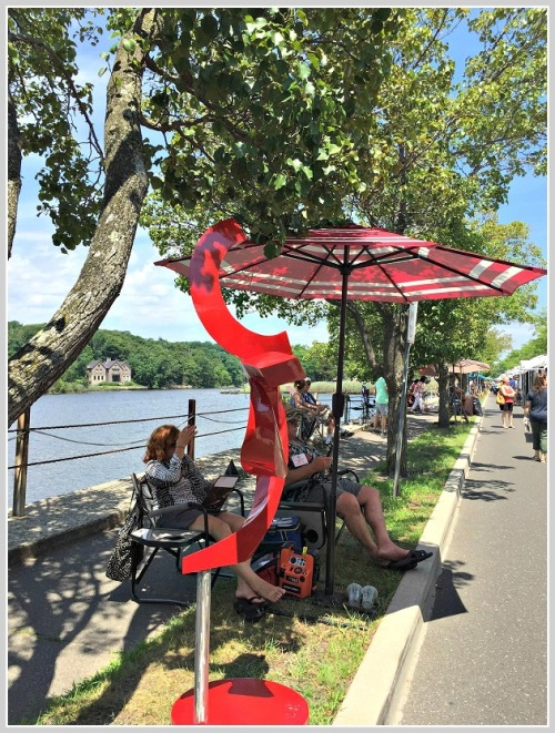 Breezes off the river helped cool this artist -- and her sculpture.