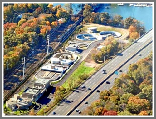 Westport's wastewater treatment plant, across the Saugatuck River from the proposed Hiawatha Lane development.