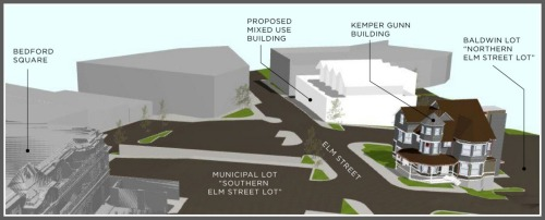 In this artist's rendering, Here's an artist's rendering. The new parking lot (old 36 Elm Street) is at left; across Elm Street is the new building (white), with Serena & Lily next to it.
