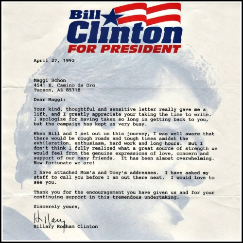 In 1992 -- when her husband Bill was running for president -- Hillary Rodham Clinton responded to a letter written by Maggi Schon, whom she once babysat for. In 2008, Maggi was at the Democratic convention -- as chair of the Democrats Abroad delegation.