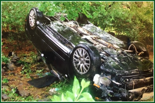 A Memorial Day accident 3 years ago put this car into the Smiths' woods.