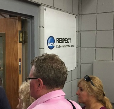 Despite the sign, there was not a lot of respect inside Sacred Heart's William H. Pitt Health & Recreation Center, says JP Vellotti.