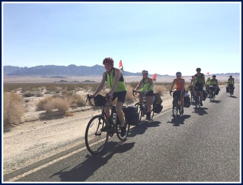The American Challenge riders, en route.