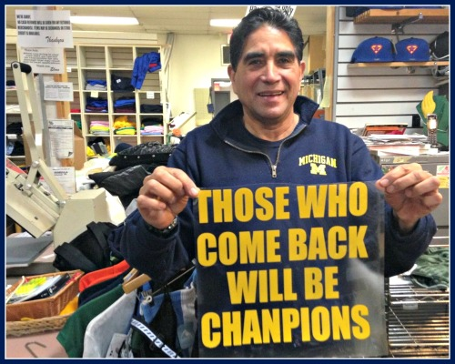 Elmo Morales designed this t-shirt for Jim Harbaugh's return as Michigan football coach.